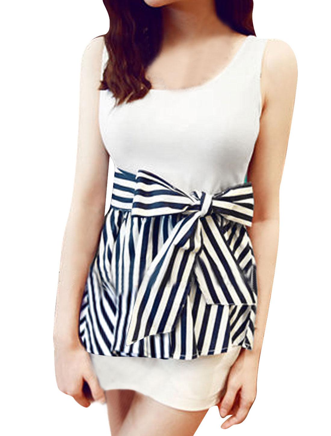 Lady Pullover Elastic Waist Stripes Top w Waist Strap White Dark Blue XS