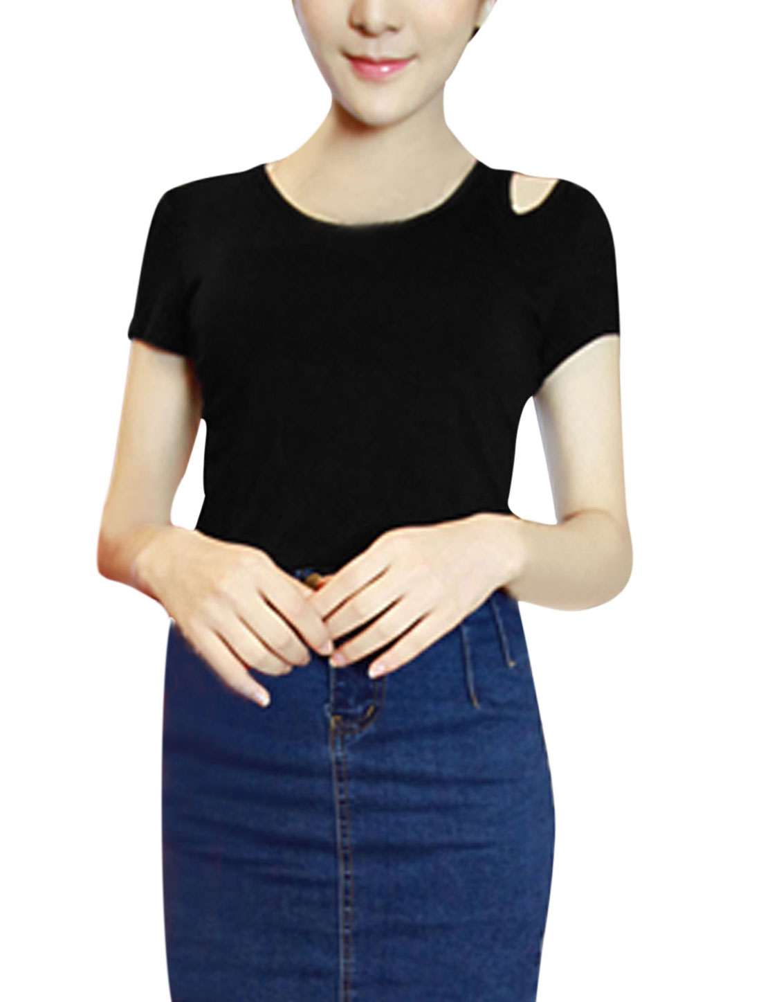 Lady Round Neck Cut Out Detail Casual Shirt Black XS