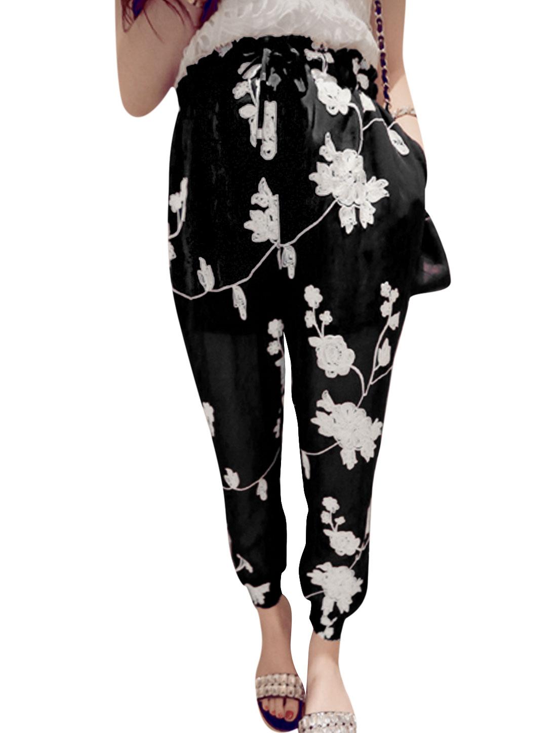 Lady Stretchy Drawstring Waist Floral Pattern Casual Chiffon Pants Black XS