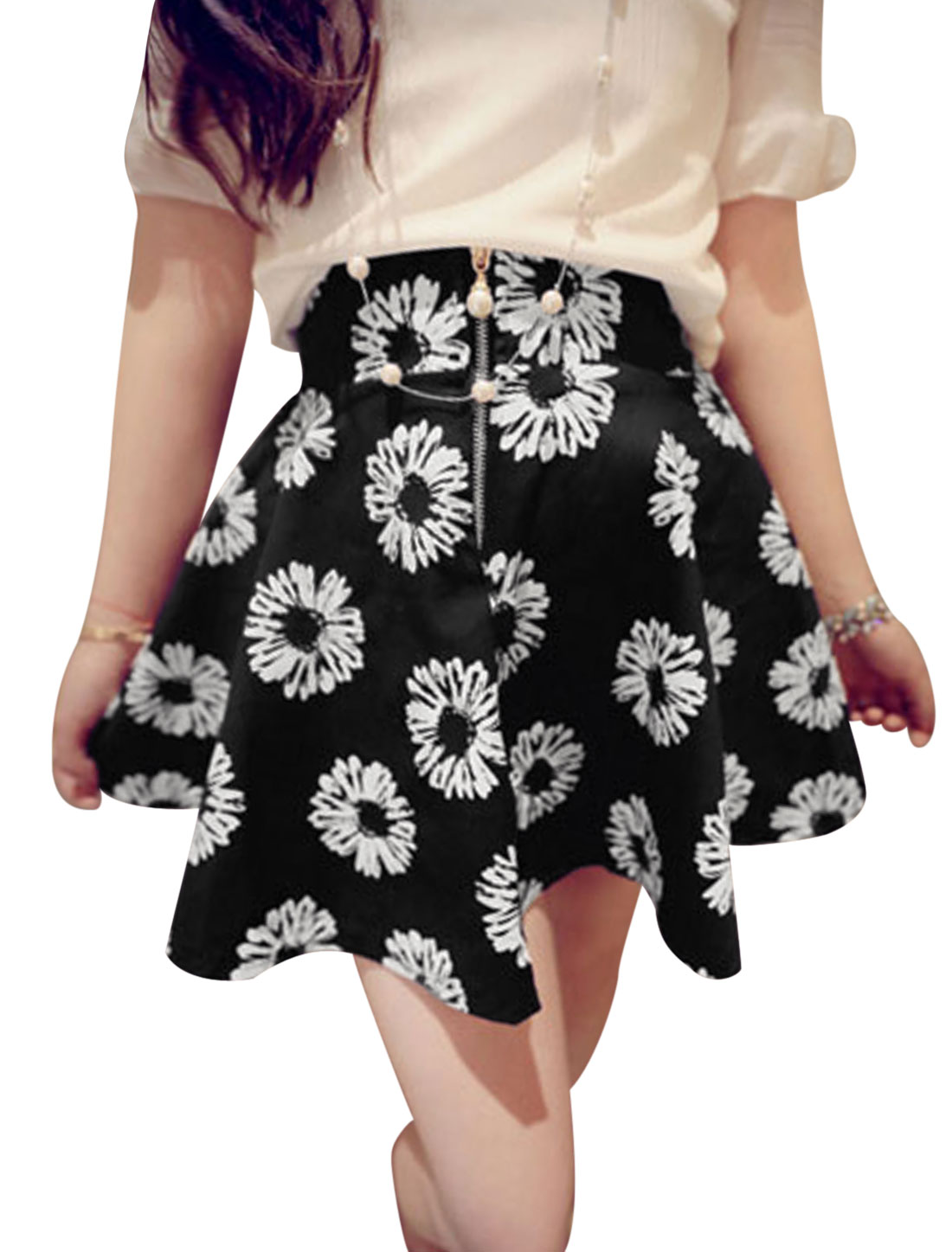 Women Summer Fit Zipper Front Sunflower Pattern Casual Skirt Black White S