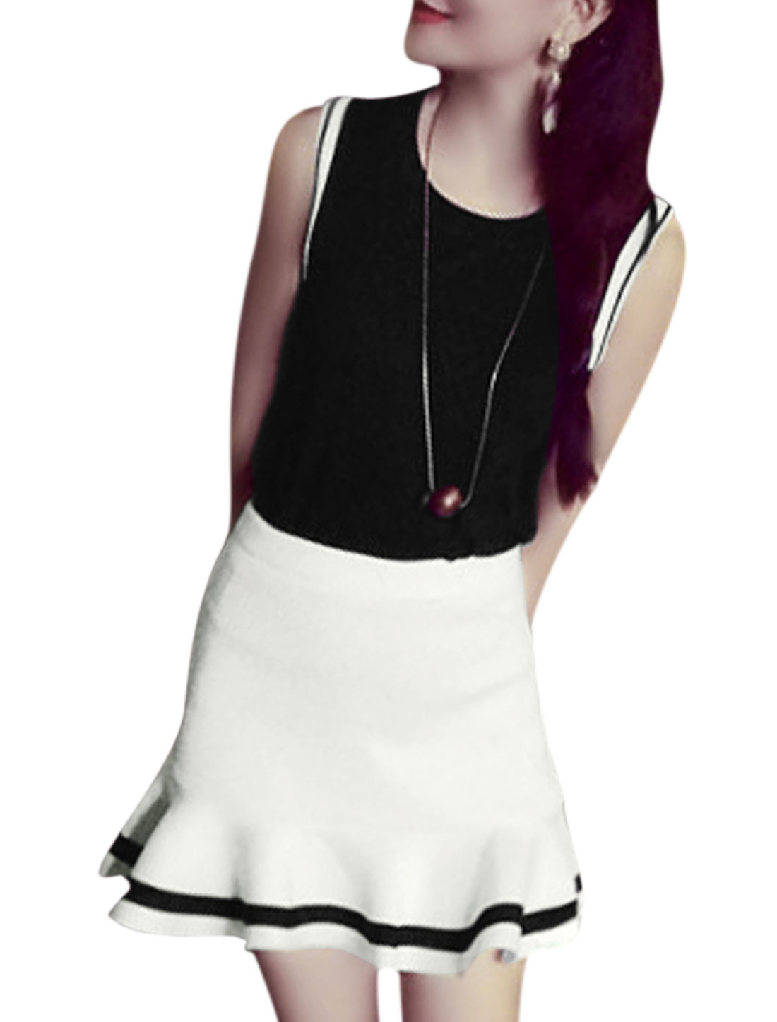 Lady Concealed Zipper Side White Fishtail Skirt w Sleeveless Black Top S