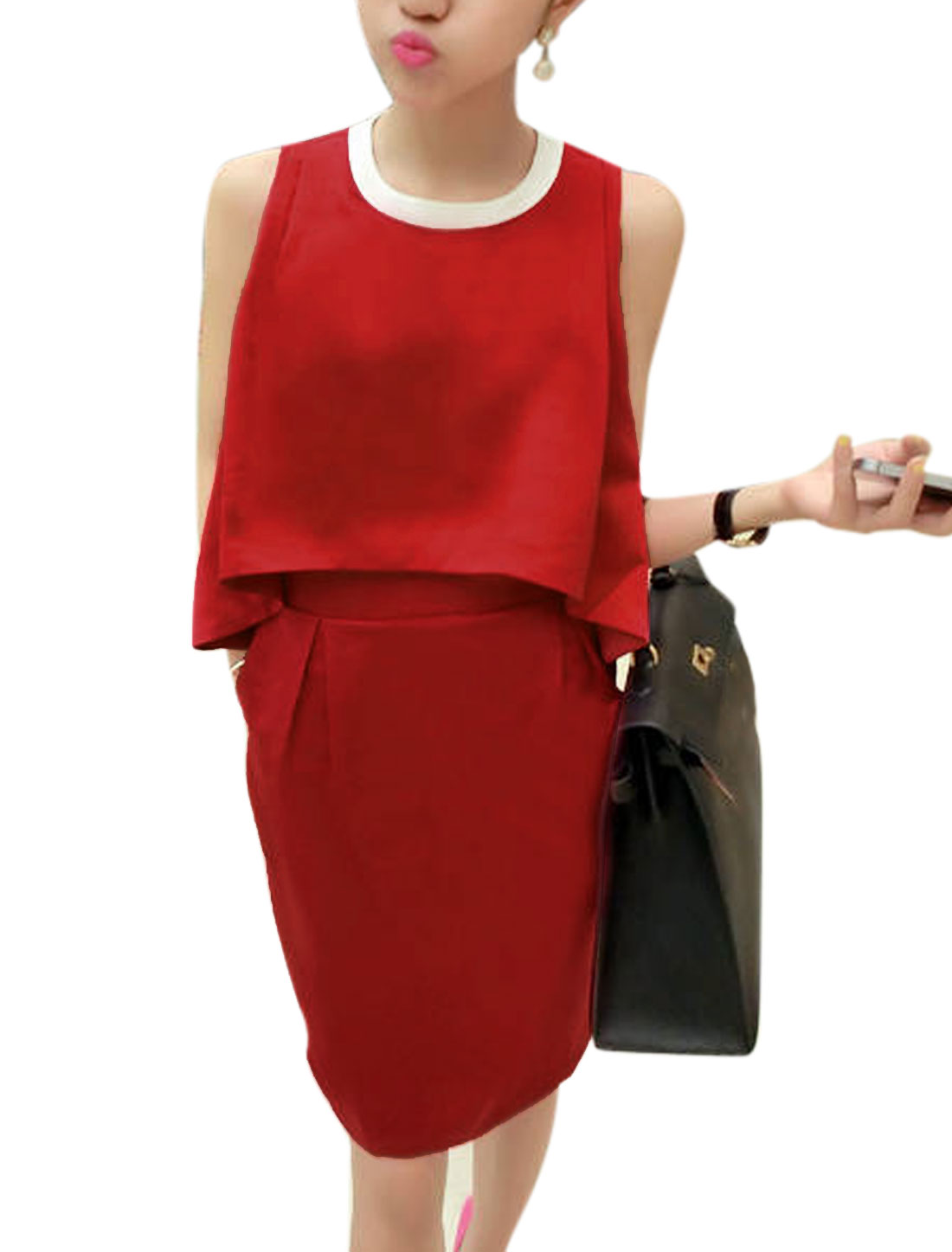 Lady Sleeveless Concealed Zipper Back Layered Design Dress Red M