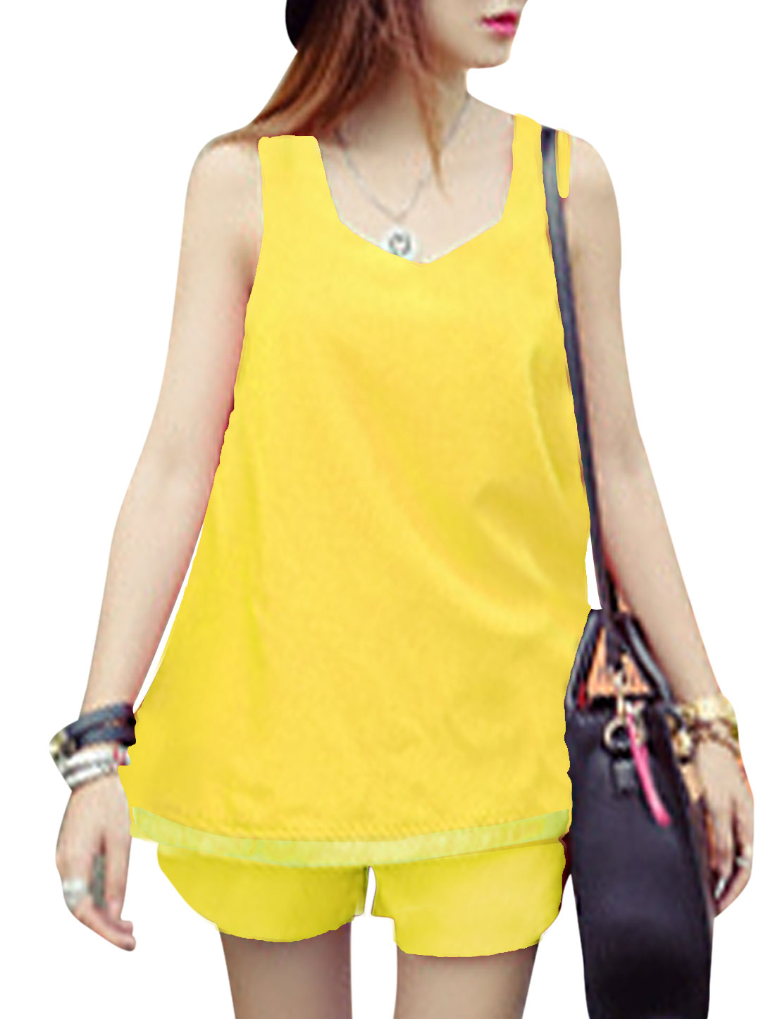 Lady Sleeveless Semi Sheer Hem Top w Stretchy Waist Shorts Yellow XS