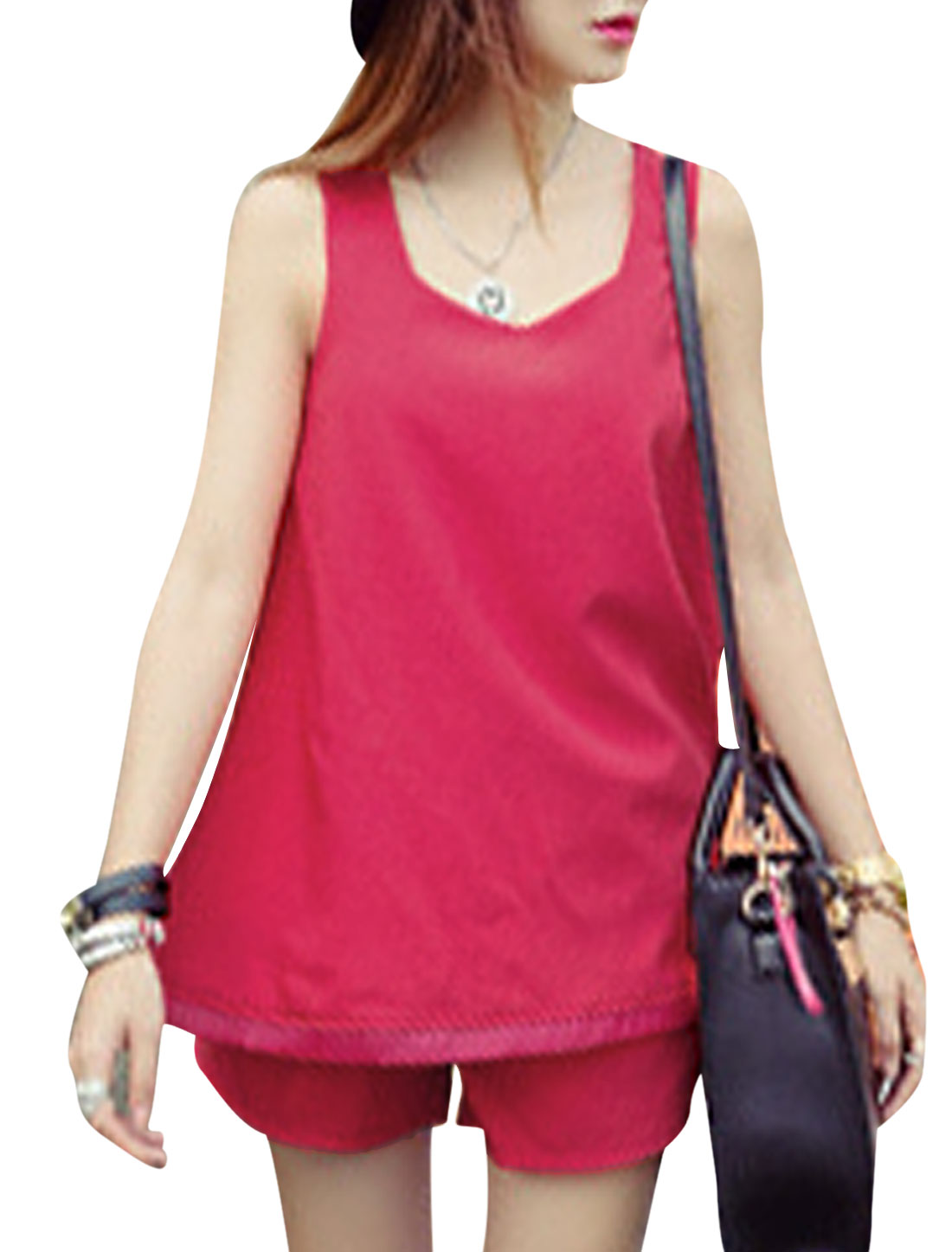 Ladies Square Neck Sleeveless Top w Zip Up Shorts Fuchsia XS