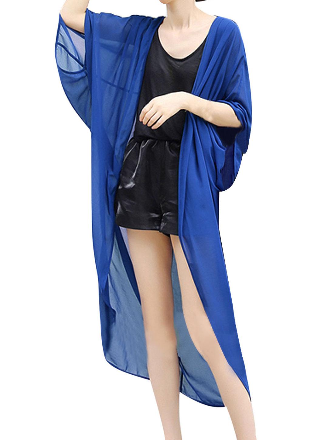 Lady Loose 3/4 Batwing Sleeve Semi Sheer Asymmetrical Hem Cardigan Royal Blue M