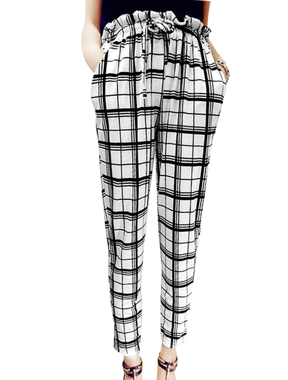 Lady Drawstring Waist Plaids Stripes Pattern Slant Pockets Cropped Pants White XS