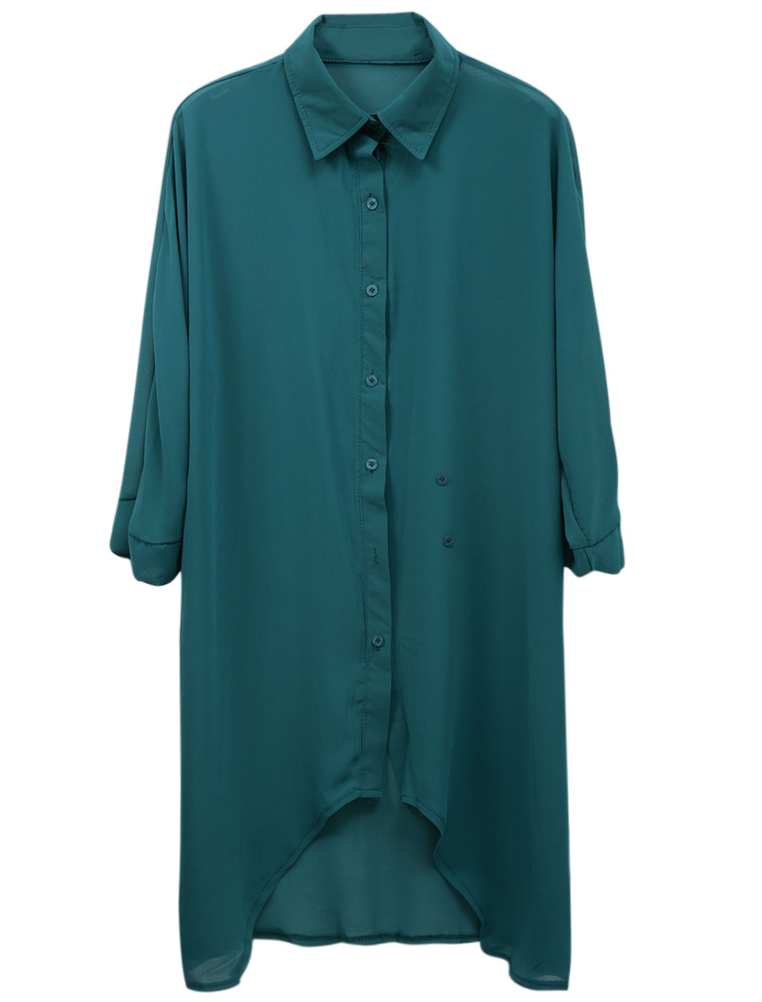 Lady 3/4 Dolman Sleeve Button Up Irregular Hem Long Shirt Peacock Blue M