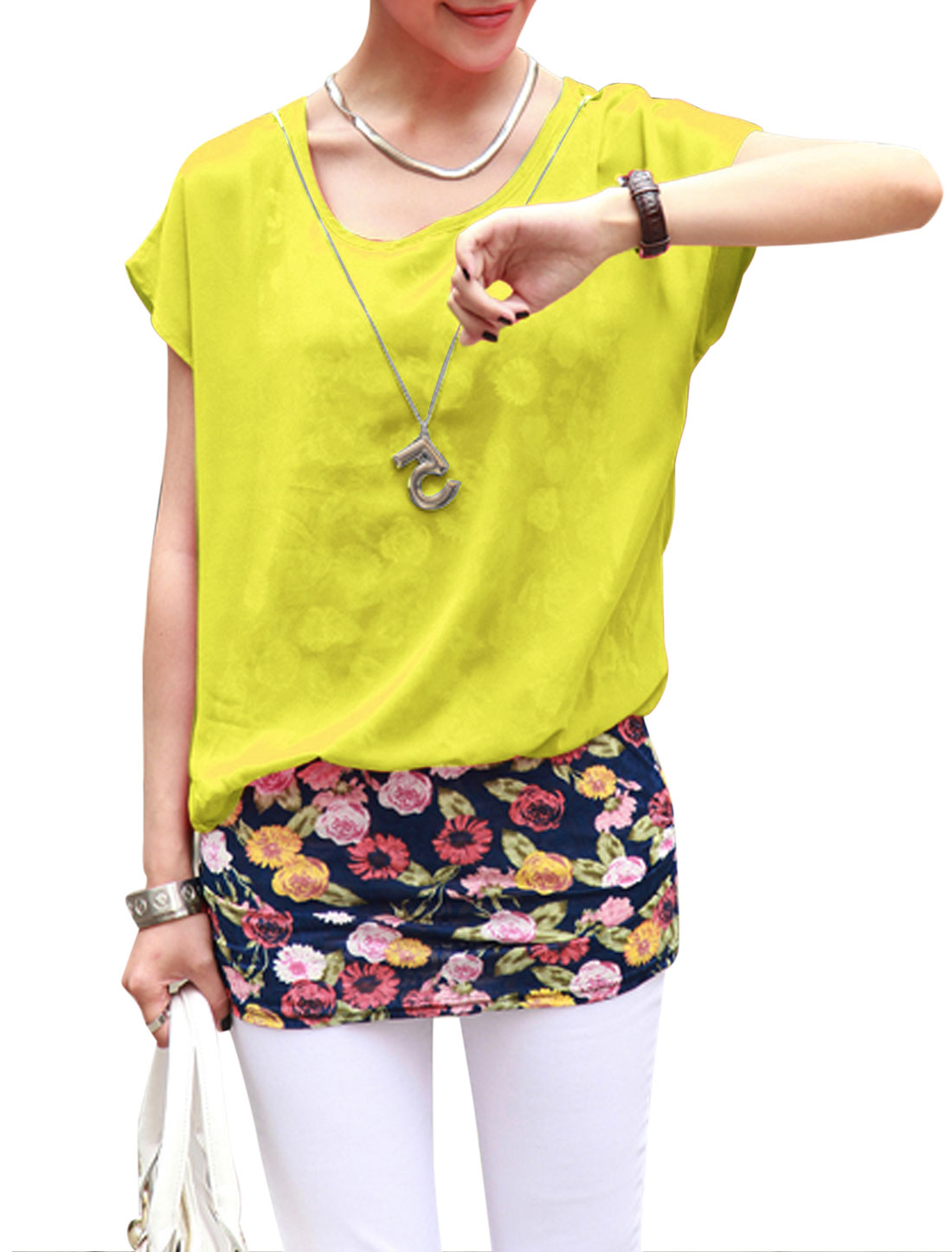 Lady Pullover Layered Shirts Floral Prints Tunic Top w Necklace Yellow S