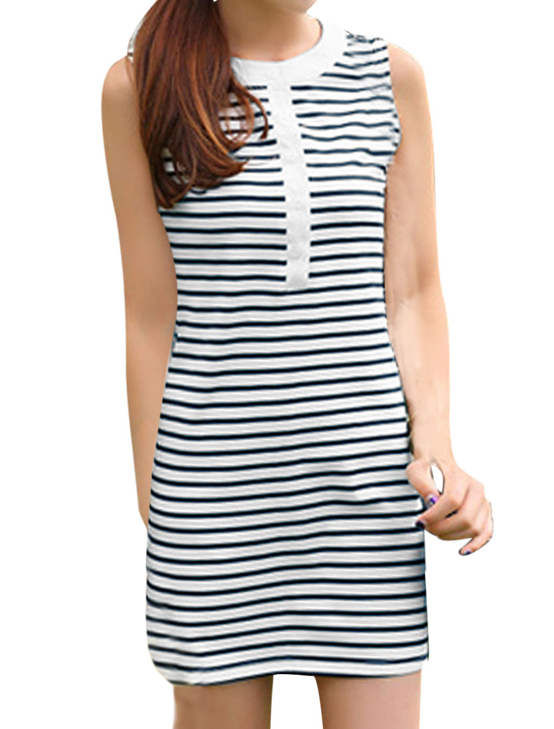 Women Stripes Button Down Sheathy Tank Dress White Navy Blue M