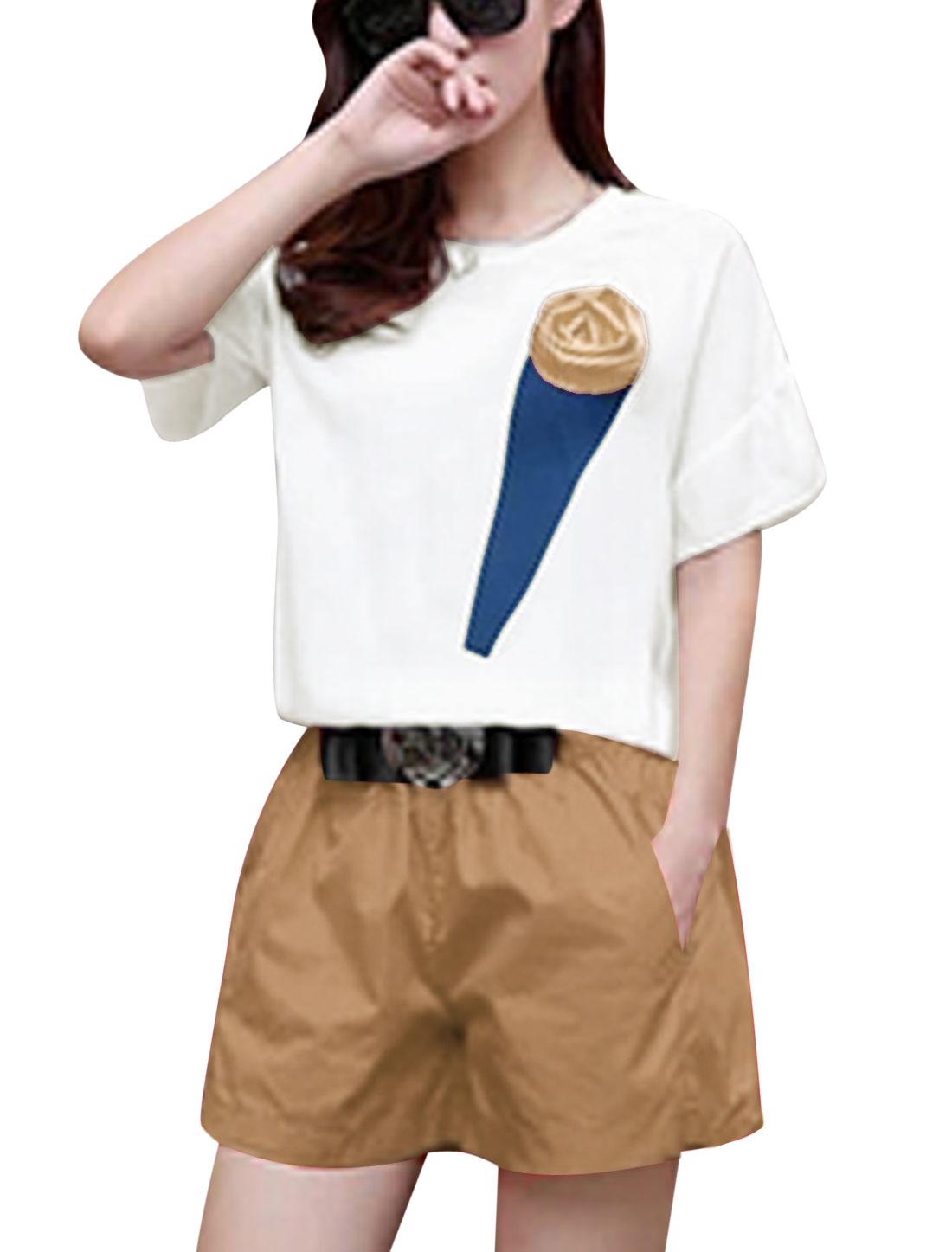 Lady Rose Decor White Top w Bowknot Metal Decor Casual Khaki Shorts S