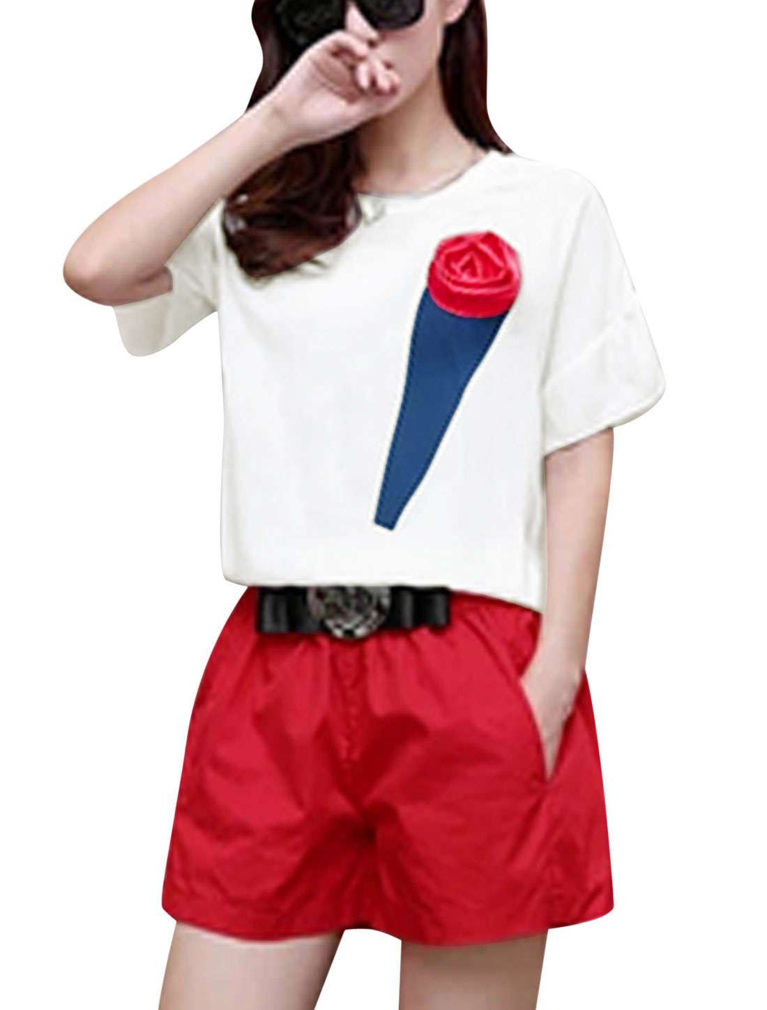 Lady Rose Decor Round Neck White Top w Bowknot Metal Decor Red Shorts S