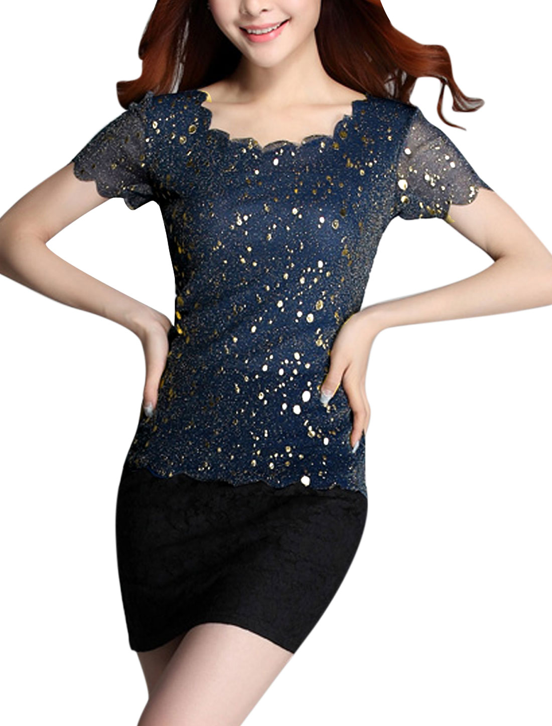 Lady Layered Mesh Paint Prints Elastic Shiny Summer T-Shirt Dark Blue S