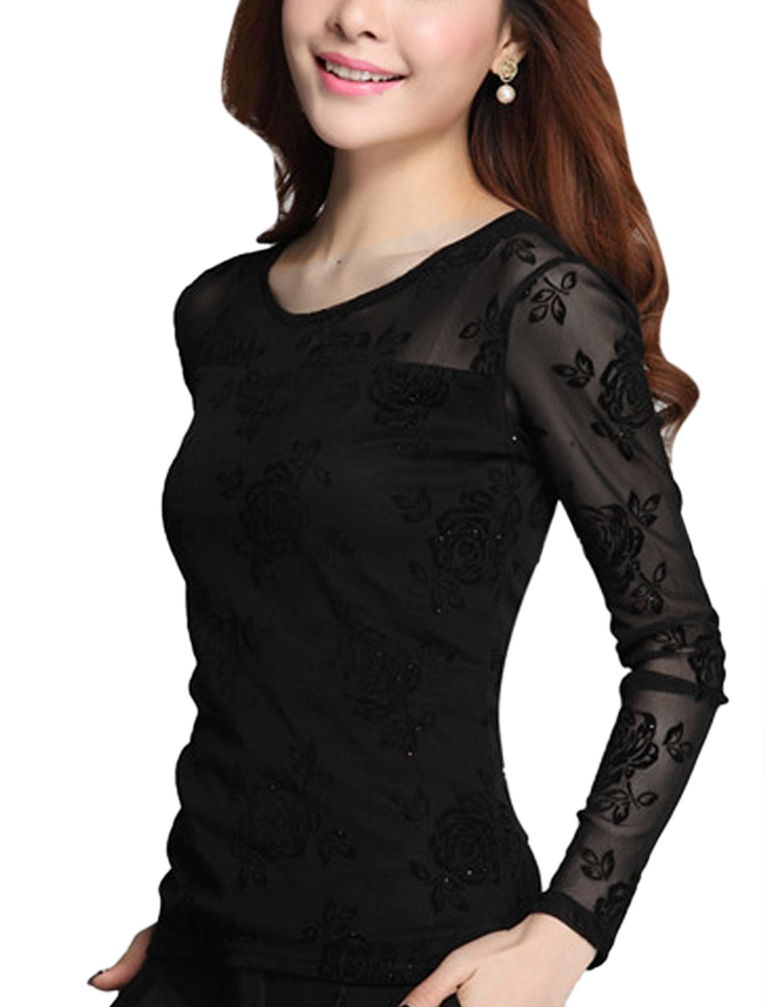 Lady Mesh Overlay Semi Sheer Floral Prints Shiny Design T-Shirt Black M