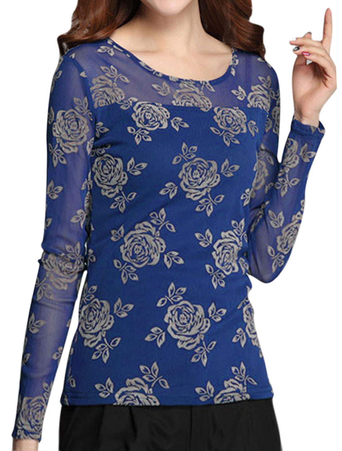 Lady Mesh Panel Floral Prints Shiny Design T-Shirt Sand Blue M