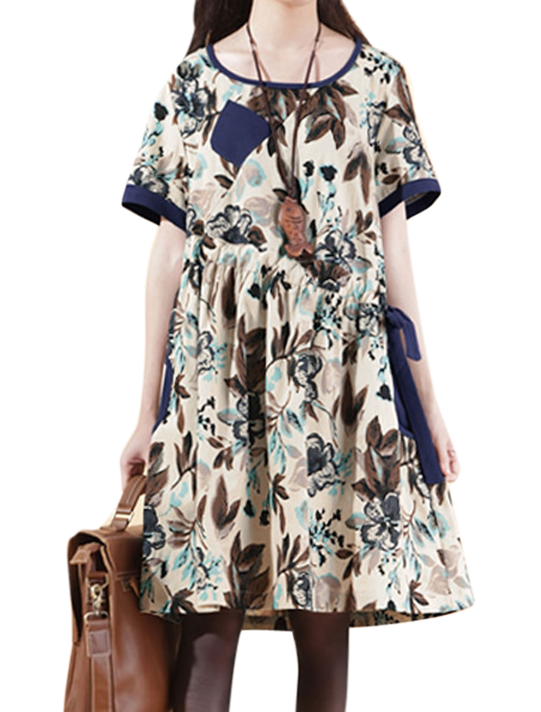 Women Floral Prints Slant Pockets Chest Drawstring Linen Dress Blue Beige M
