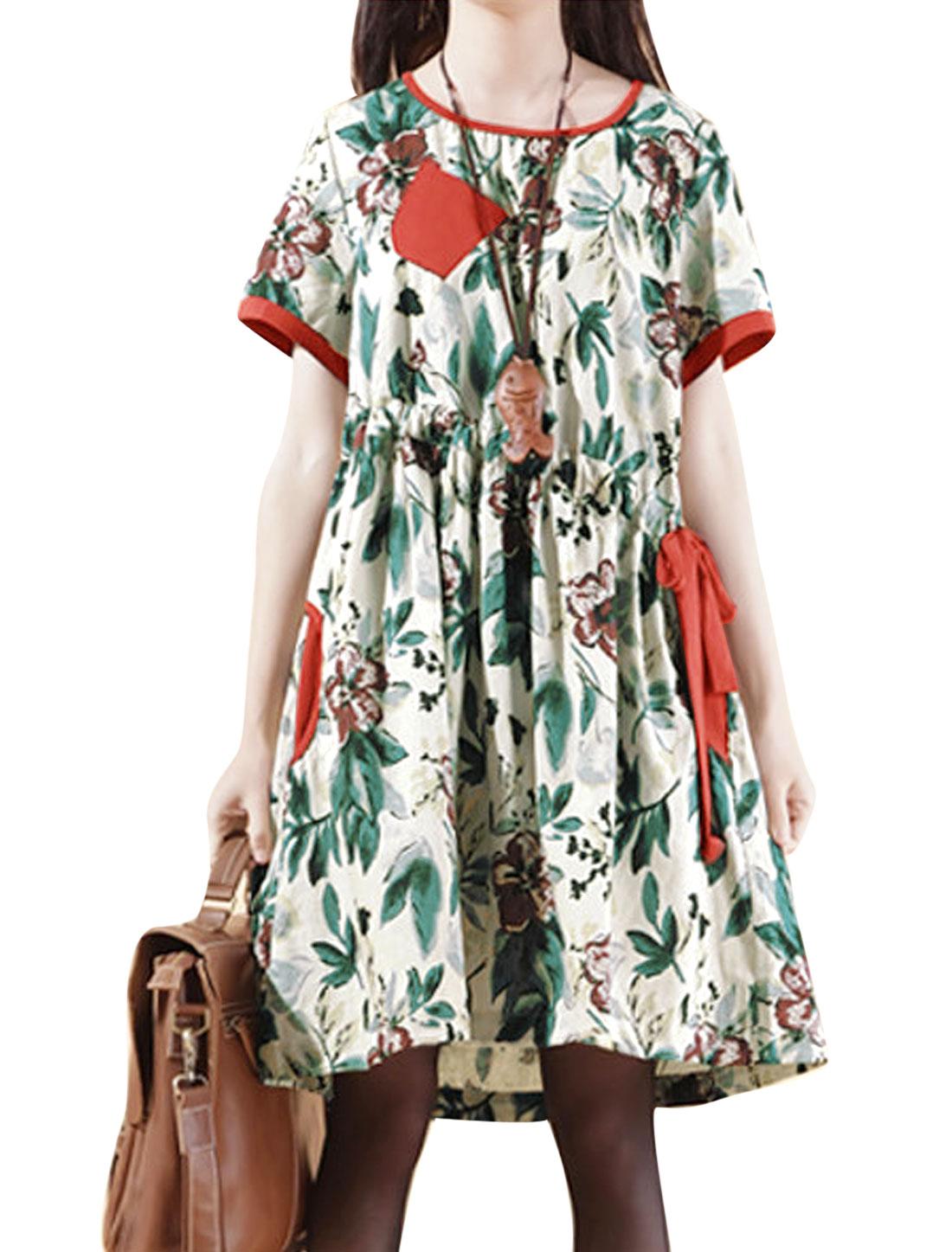 Lady Round Neck Slipover Floral Prints Drawstring Waist Linen Dress Orange Red Beige M