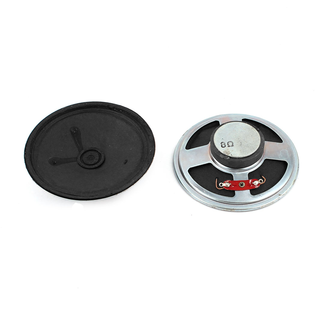 2 Pcs 77mm Dia Silver Tone Round External Magnet Speaker Loudspeaker 8 Ohm 1W