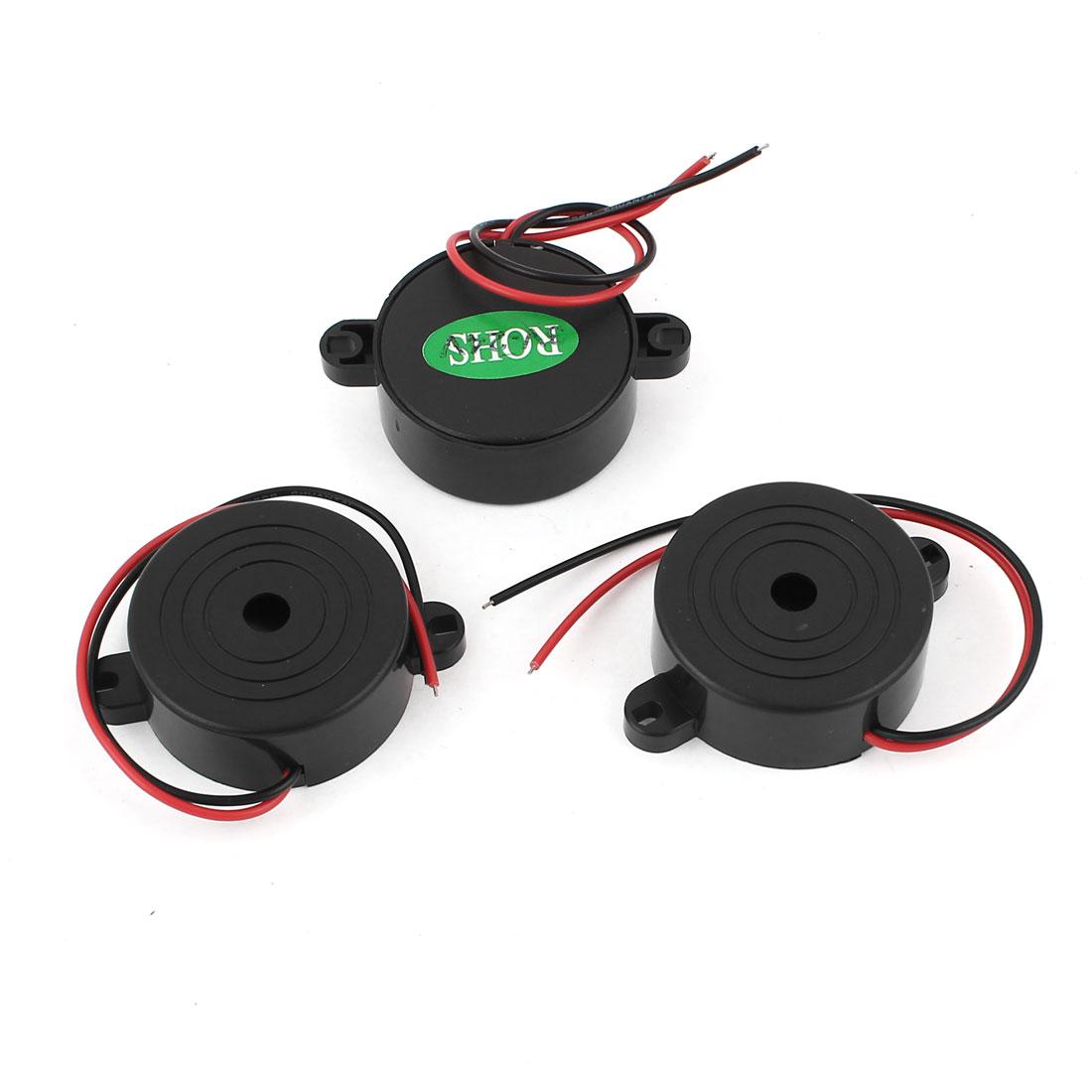 DC3-24V Industrial Continuous Sound Electronic Alarm Buzzer Black 3 Pcs