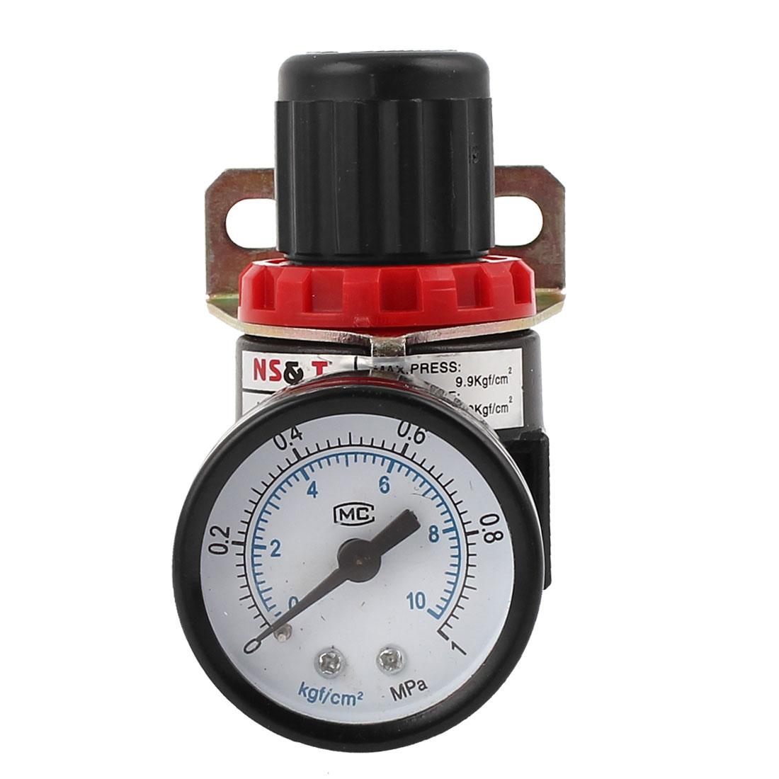 "AR2000 Adjustable Pressure Metal Pneumatic Regulator 1/4"" w Pressure Gauge"