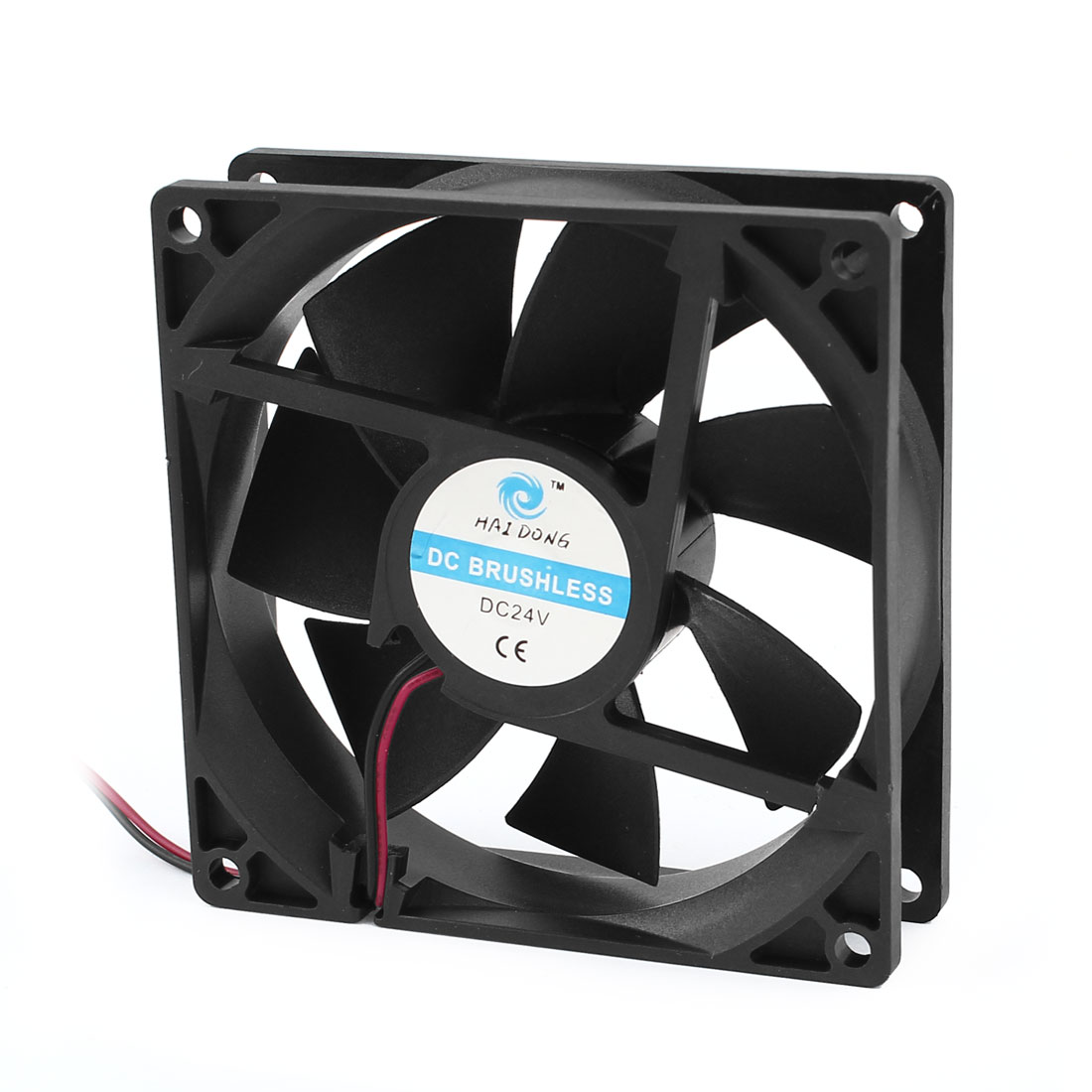 DC 24V 92x25mm Plastic 7 Flabellums Cooling Fan w Dustproof Mesh for Computer Case