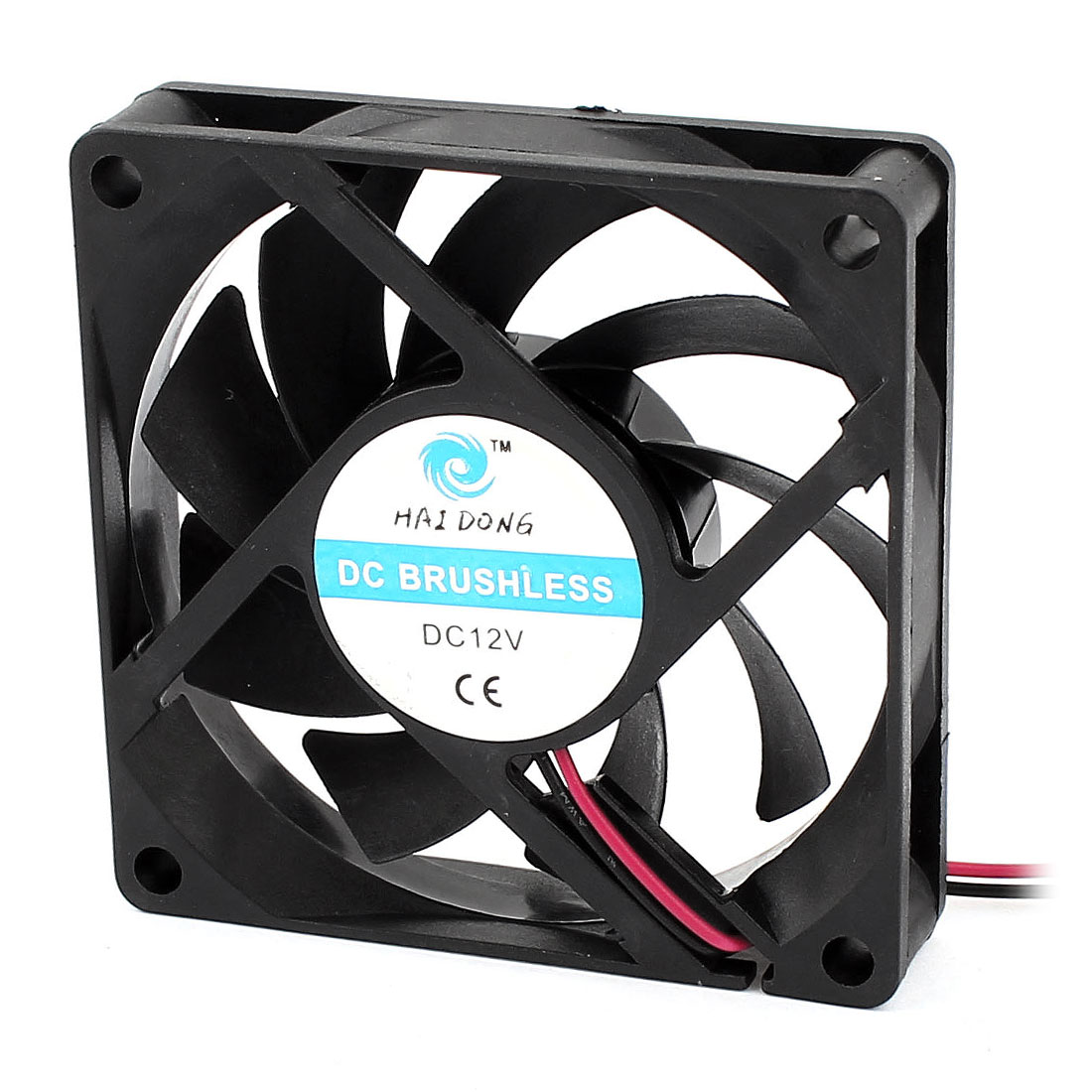 DC 12V 70mmx15mm 2 Terminals Plastic Case Cooling Cooler Fan w Metal Grill