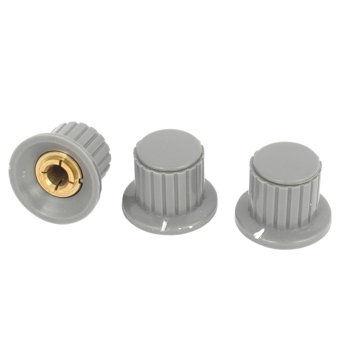 "Gray 19mm Top Dia 1/4"" Shaft Potentiometer Volume Control Knobs 3 Pcs"