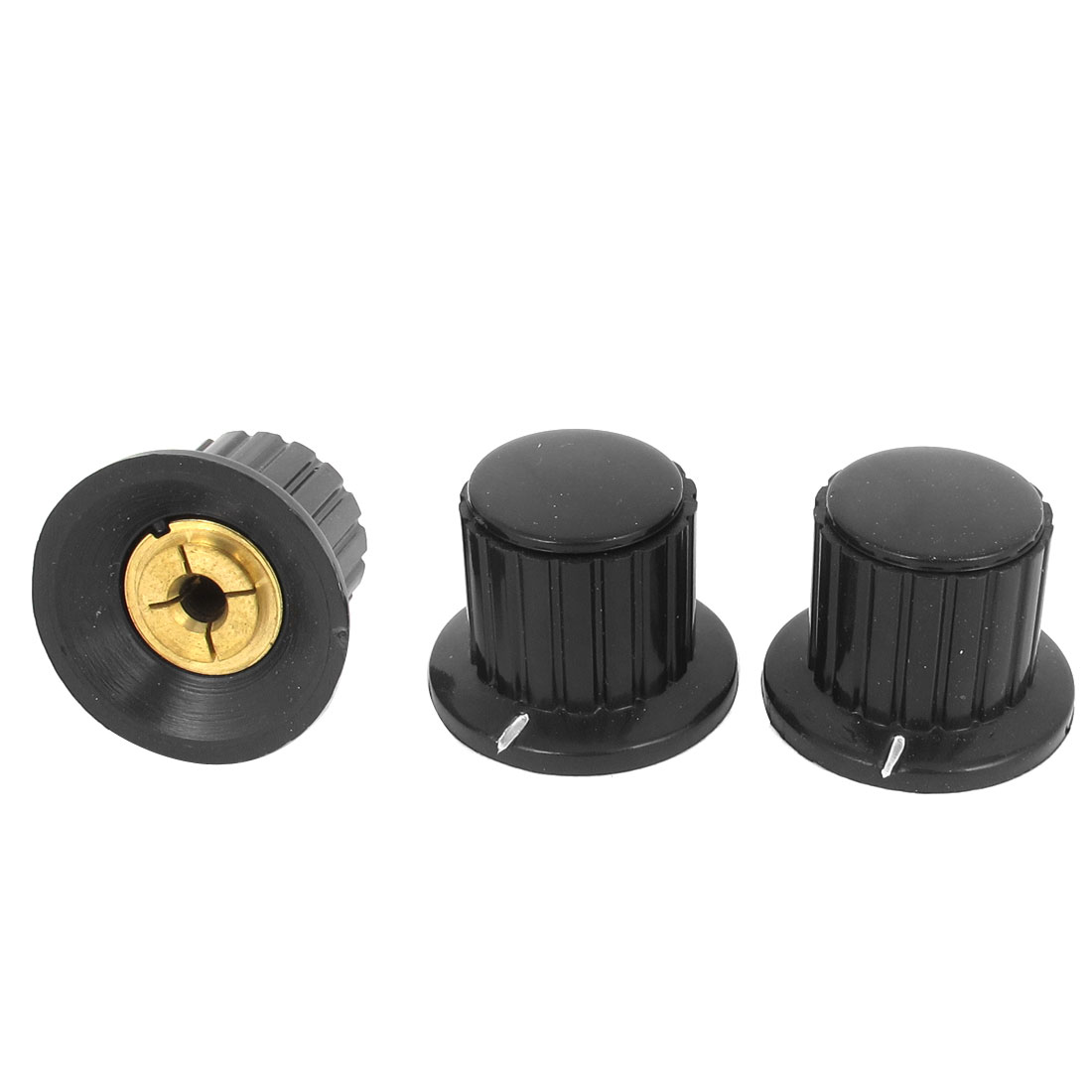 3 Pcs 4mm Shaft Insert Dia Brass Tone Core Potentiometer Control Knobs Black