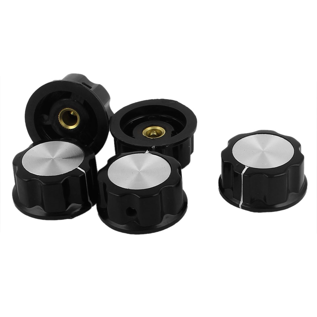 Replacement 30mm Top 6mm Shaft Insert Dia Potentiometer Rotary Knobs 5pcs