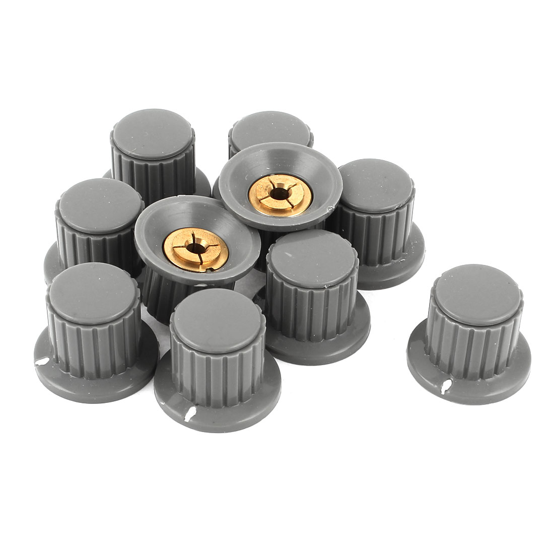 "10pcs 1/6"" Shaft Insert Dia Brass Tone Core Potentiometer Control Knobs Gray"