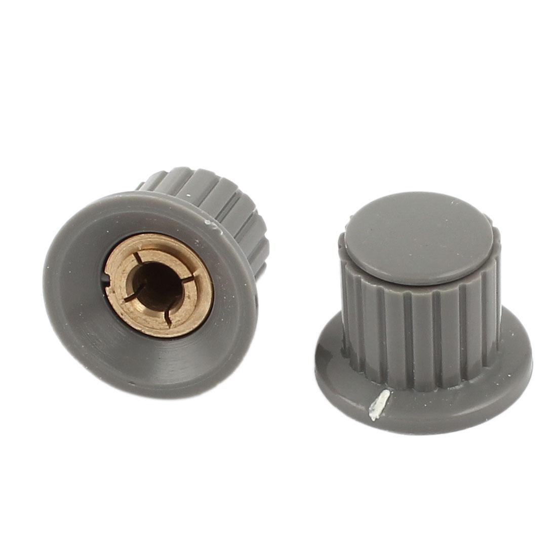 "2pcs 18.5mm Top 1/4"" Shaft Insert Dia Brass Tone Core Potentiometer Control Knob"