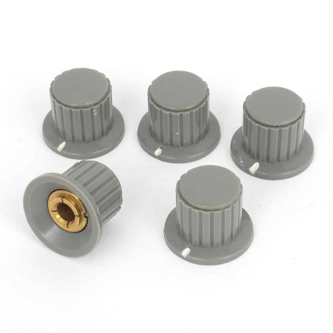 5 Pcs Gray Ribbed Grip 6mm Split Shaft Potentiometer Control Knobs