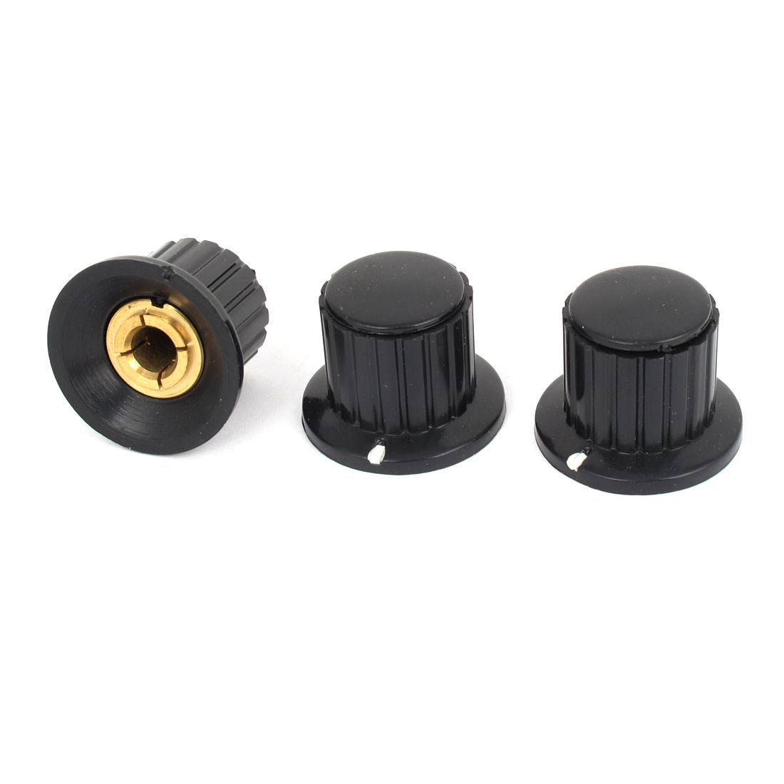 Black 19mm Top Dia 6mm Shaft Potentiometer Volume Control Knobs 3 Pcs