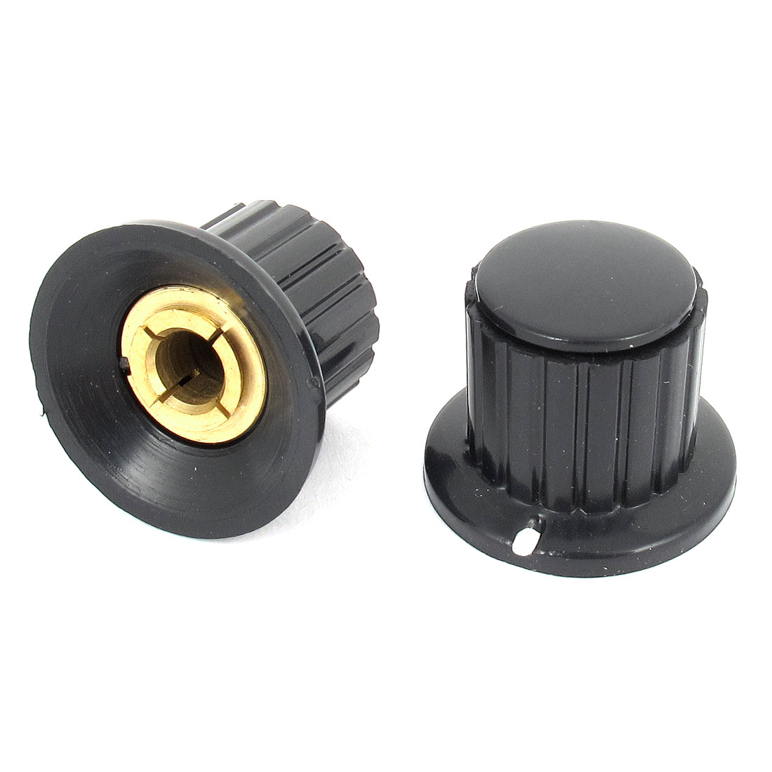 2 Pcs Black Ribbed Grip 6mm Split Shaft Potentiometer Control Knobs