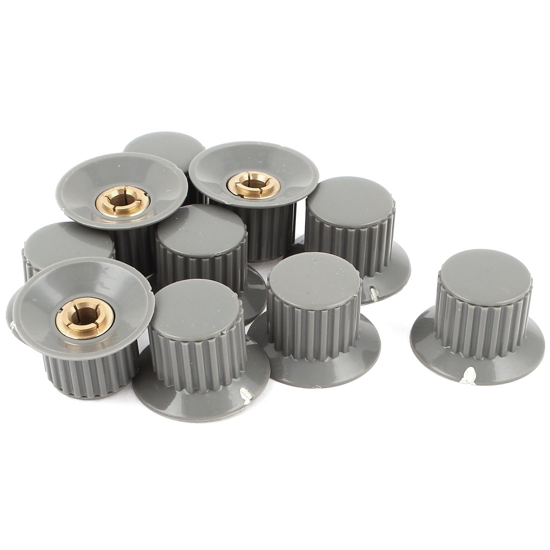10pcs 6mm Shaft Insert Dia Brass Tone Core Potentiometer Control Knobs