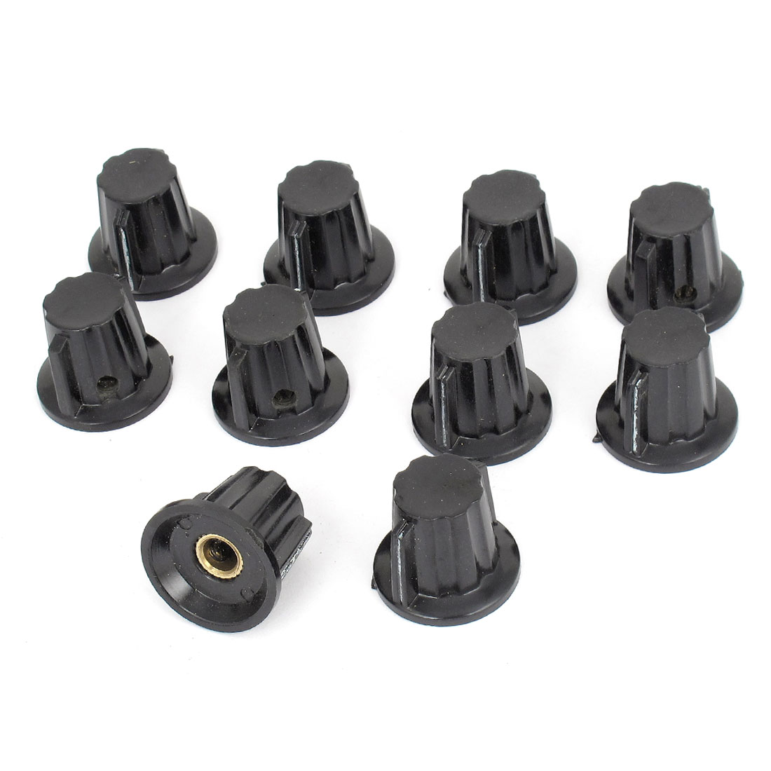 Black 15mm Top Dia 6mm Shaft Potentiometer Volume Control Knobs 10 Pcs