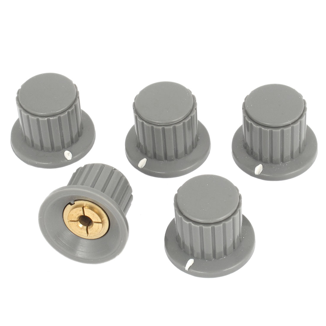 5 Pcs 4mm Shaft Insert Dia Brass Tone Core Potentiometer Control Knobs Gray