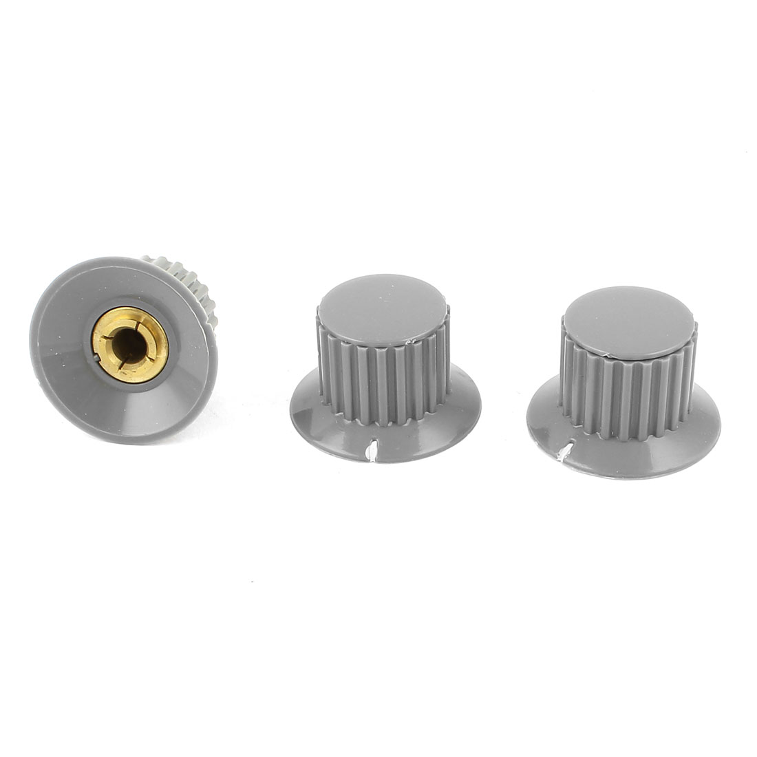 "3Pcs Gray Ribbed Grip 1/4"" Split Shaft Potentiometer Control Knobs"