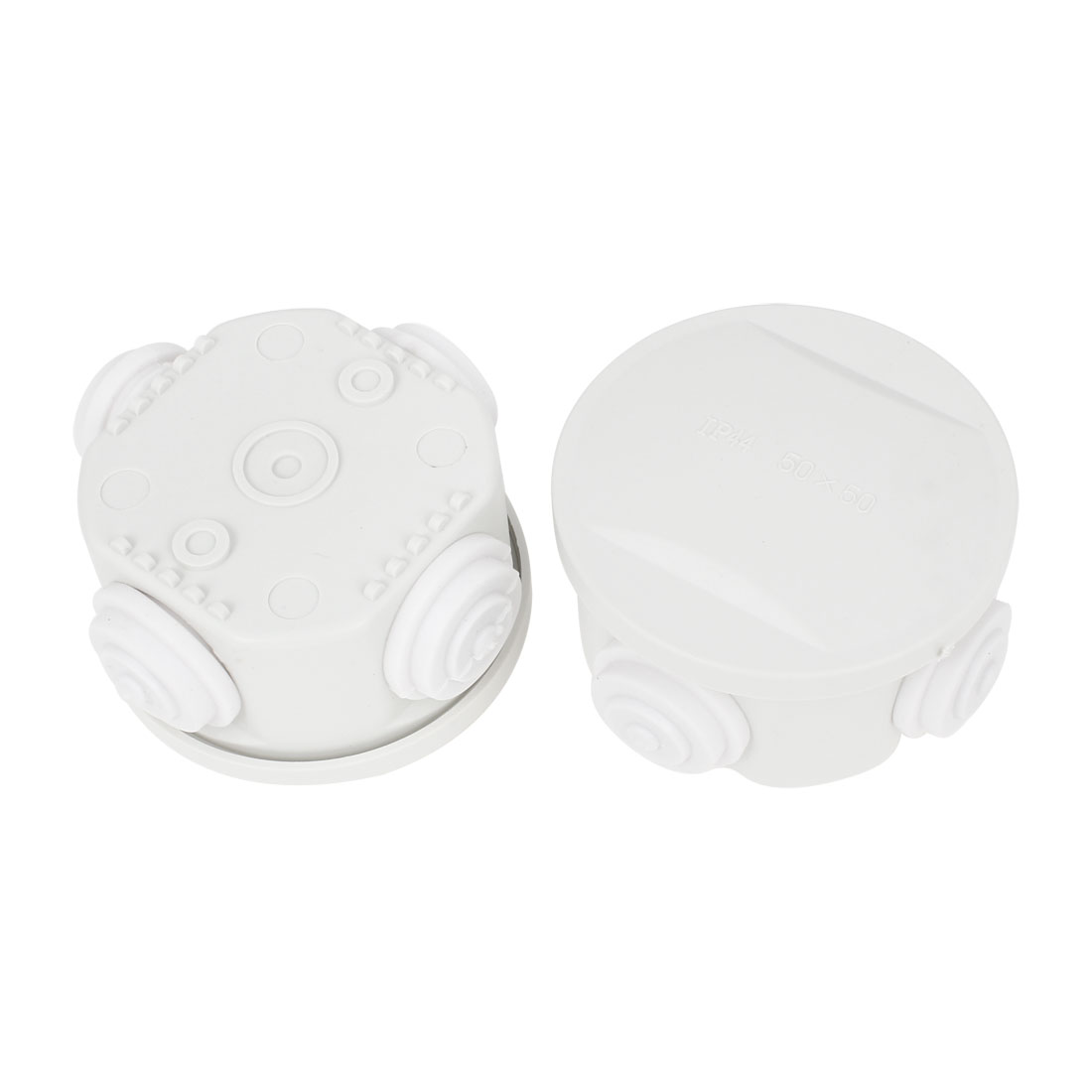2 Pcs White ABS 50x50mm 4 Cable Entries Round Junction Box