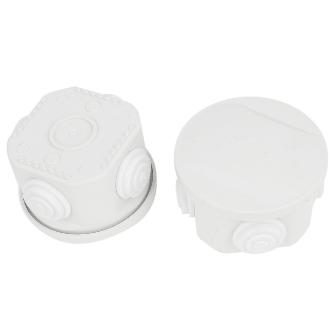 2 Pcs White ABS 80x50mm 4 Cable Entries Round Junction Box