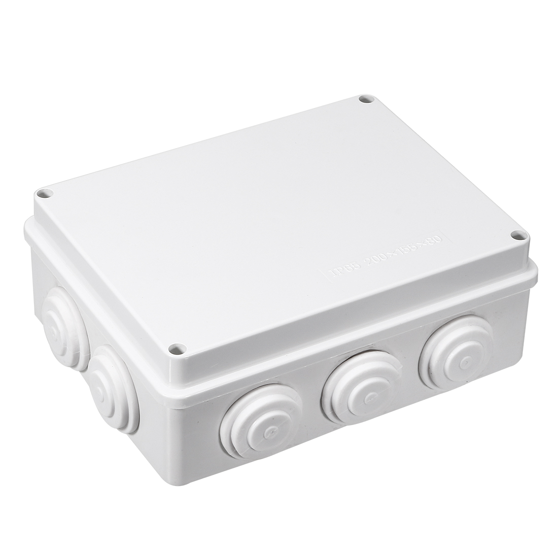 ABS IP65 Waterproof 35mm Hole 10 Cable Entries Junction Box 200x155x80mm