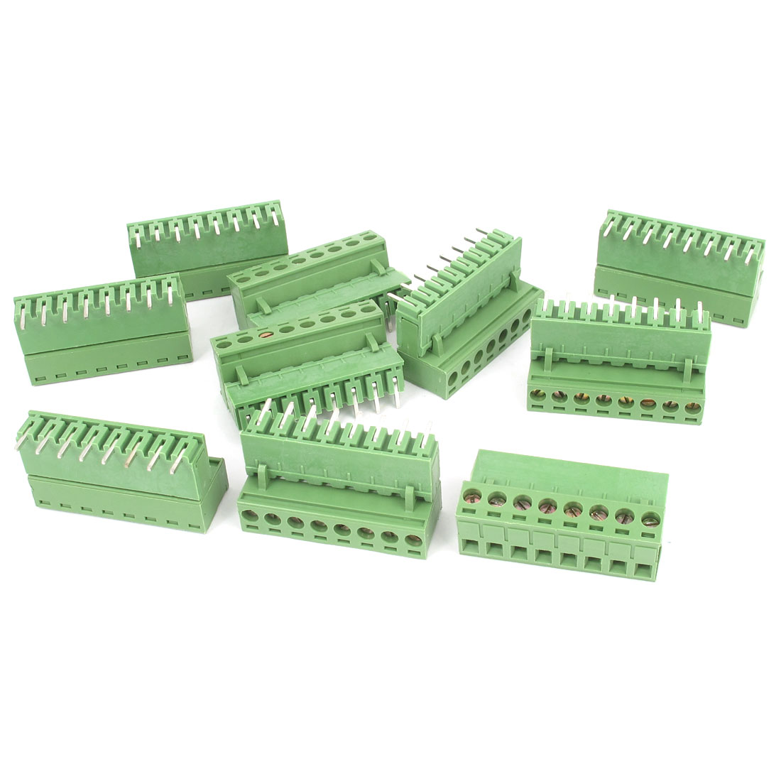 10Pcs AC 300V 10A 8P Pins PCB Screw Terminal Block Connector 5.08mm Pitch Green