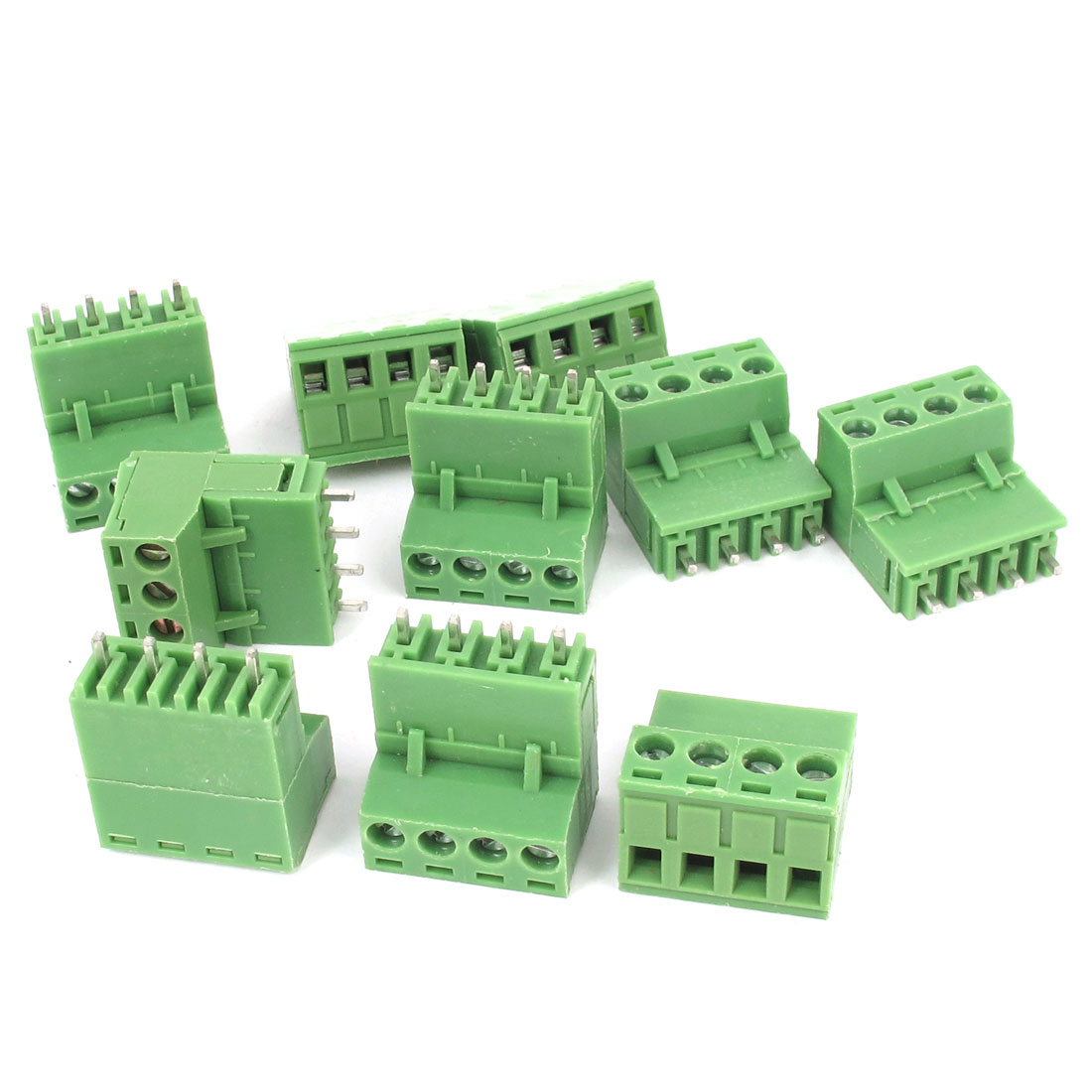 10Pcs 300V 15A 5.08mm Pitch 4-Pin 4-Position PCB Screw Terminal Block Connector