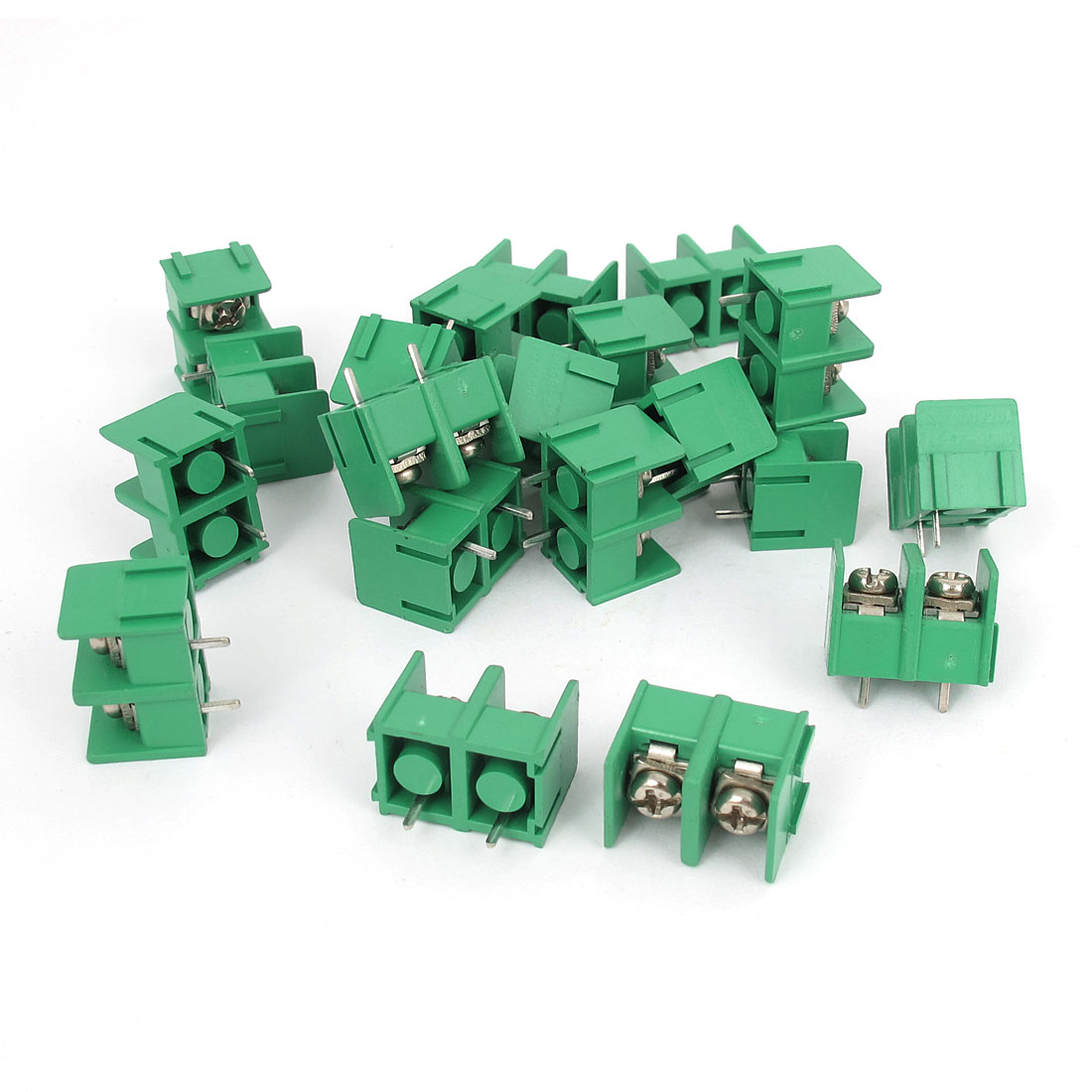 20Pcs 7mm Pitch 2 Position 300V 20A Terminal Block Green