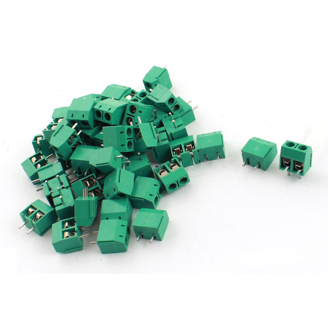 50Pcs 300V 15A 2 Way PCB Board Screw Terminal Block Connector 5mm Pitch