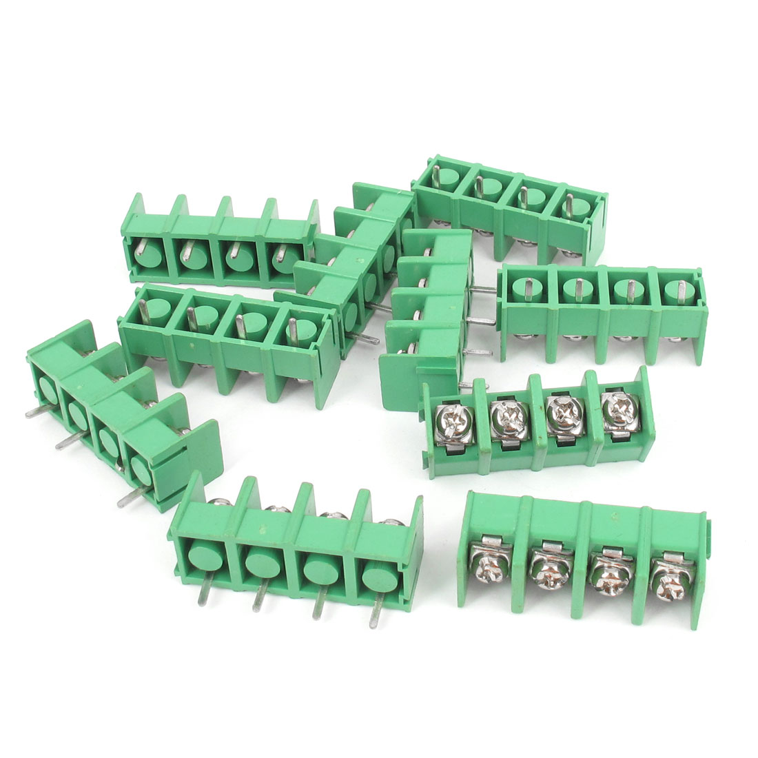 10pcs 4-Way 4Pin PCB Mounting Screw Terminal Block Connector