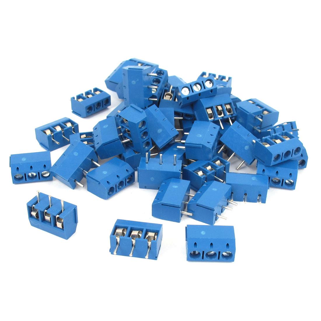 50Pcs 4.5mm Pitch PCB Screw Terminal Block Connector 300V 10A