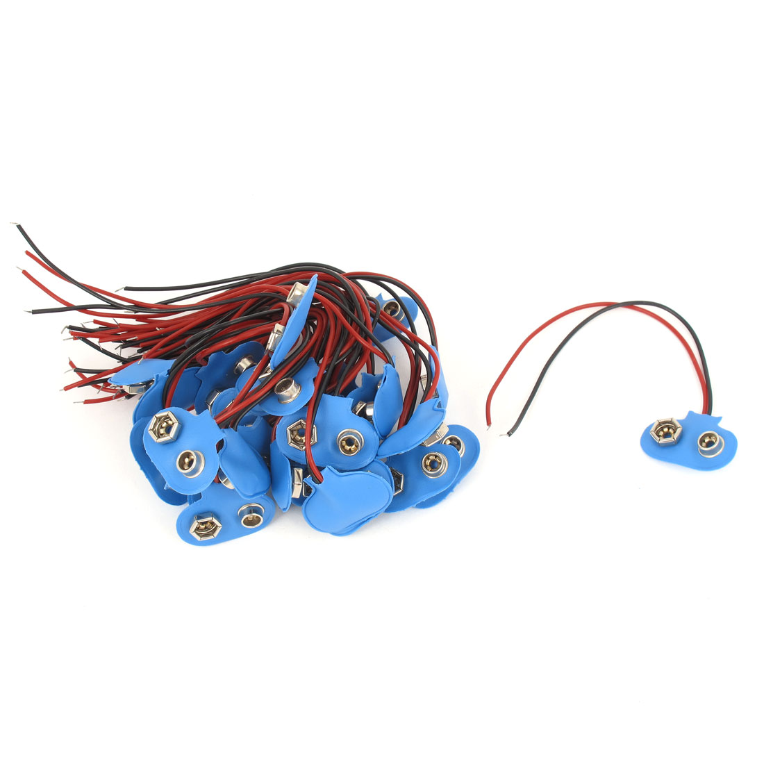 30pcs 9V Battery Snap Connector Clip Lead Cord Wires Holder Blue15cm Long