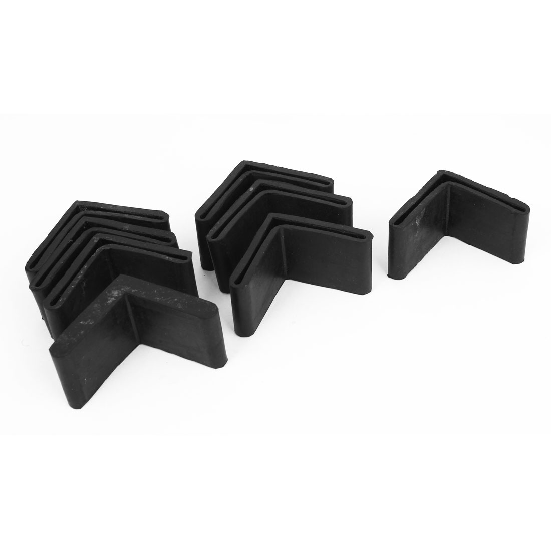 8 Pcs Black Rubber L Shaped Furniture Right Angle Foot Leg Covers Pad 50mmx50mm
