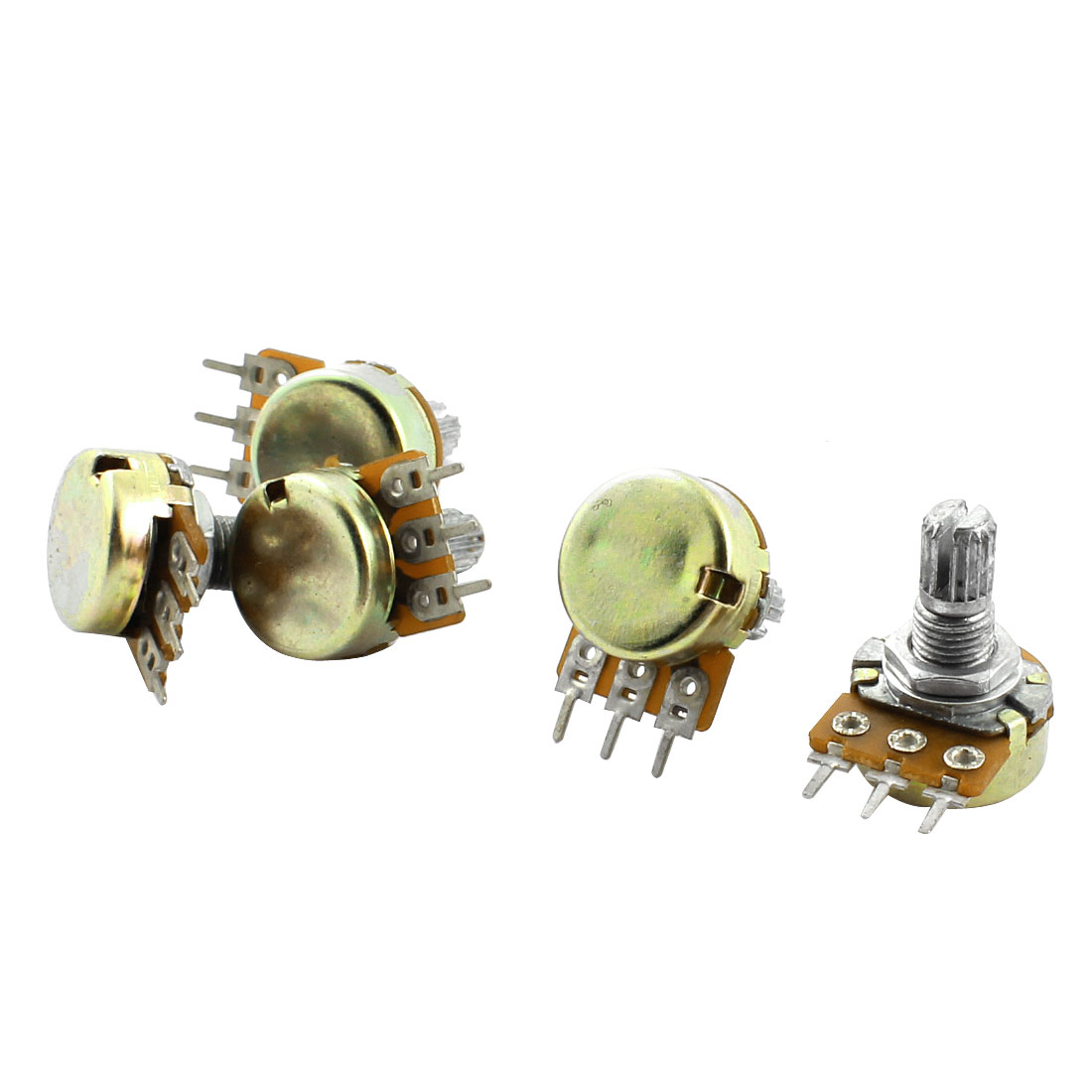 10K Ohm Split Knurled Shaft Single Linear Rotary Taper Potentiometers Pot 5pcs
