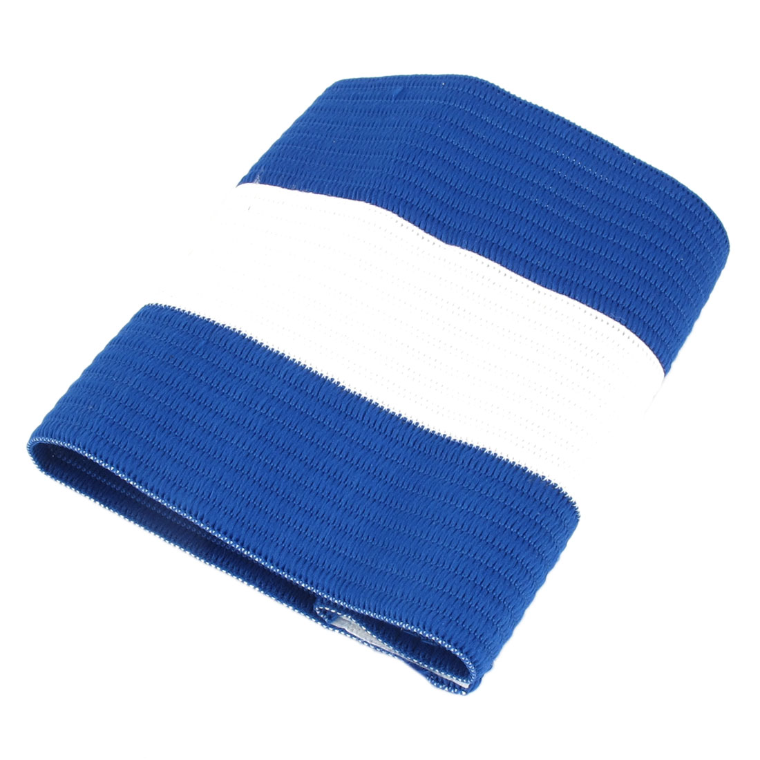 Blue White Terylene Detachable Closure Stretchy Team Soccer Captain Armband